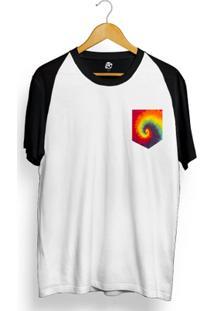 Camiseta Bsc Raglan Tie Dye Pocket - Masculino-Branco