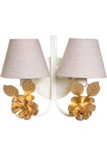 Arandela 2 Lâmpadas Flores Douradas Potinho De Mel Dourado