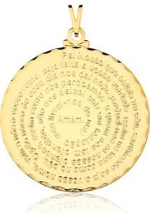 Pingente Medalha Pai Nosso Folheado A Ouro