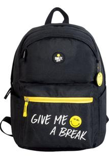 Mochila Casual Com Porta Notebook Escolar Universitaria Smiley Gosuper Give Me A Break Preto