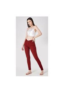 Calça Jeans Express Skinny Alice Color Bordô Vermelho