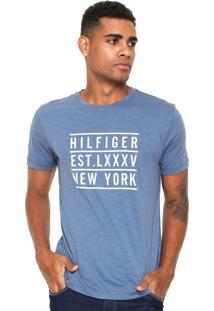 Camiseta Tommy Hilfiger Regular Fit Estampada Azul