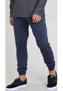 Calça Masculina Em Moletom Com Bolsos Azul Marinho