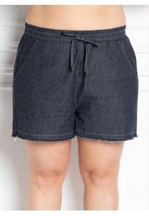 Short Com Bolsos Jeans Escuro Plus Size