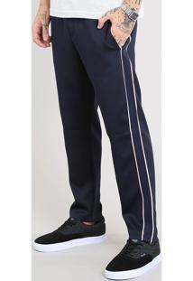 Calça Masculina Jogger Com Faixa Lateral Azul Marinho