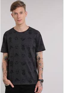 Camiseta Estampada Star Wars Cinza Mescla Escuro