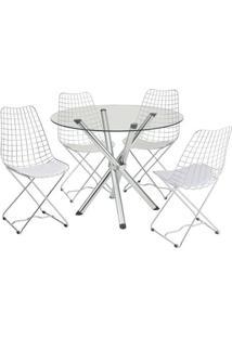 Conjunto De Mesa Com 4 Cadeiras Ana Carolina Corino Branco E Cromado - Única