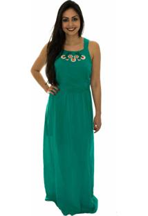Vestido Capim Canela Longo Bordado Verde