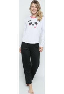 376afd4cc ... Pijama Panda- Branco   Preto- Zulaizulai