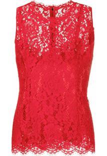 Dolce & Gabbana Blusa Sem Mangas Com Renda - Vermelho