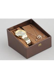 Kit De Relógio Analógico Mondaine Feminino + Brinco + Colar - 99304Lpmgde1K1 Dourado - Único