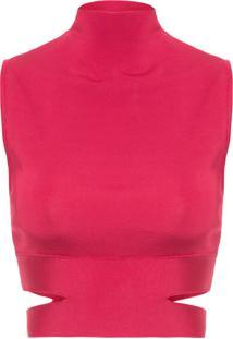 Blusa Feminina Tricot Cropped - Vermelho
