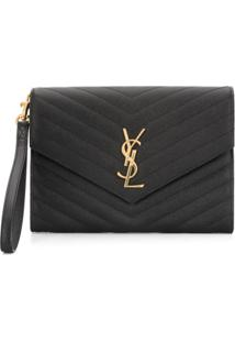 Saint Laurent Clutch Ysl New Pouch Com Monograma - Preto