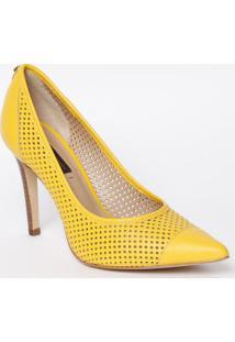Scarpin Em Couro Com Recortes Vazados - Amarelo - Sajorge Bischoff