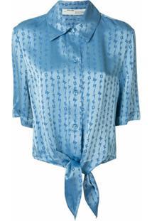Off-White Blusa Com Nó E Logo - Azul