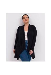 Casaco Liso Alongado Com Pontas Curve & Plus Size | Ashua Curve E Plus Size | Preto | Eg