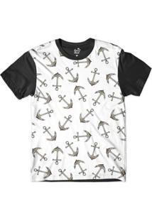 Camiseta Long Beach Náutica Âncoras Ferrugem Sublimada Masculina - Masculino-Branco+Preto
