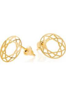 Brinco De Ouro Joiasgold 18K Circulo Vazada - Feminino-Dourado