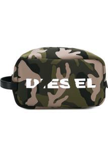 Diesel Necessaire Camuflada Com Logo - Green
