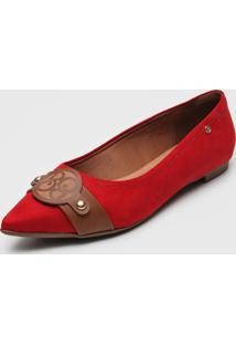 Sapatilha Bebec㪠Aplique Vermelha - Vermelho - Feminino - Dafiti