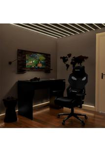 Conjunto De Mesa Com Cadeira Gamer Pro Preta E Terrano