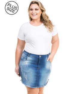 Saia Jeans Plus Size - Confidencial Extra Curta Summer Azul Marinho