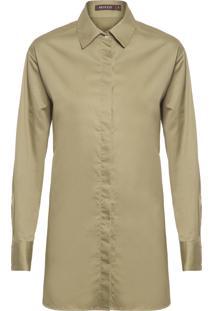 Camisa Feminina Tricoline Over - Verde
