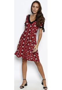 Vestido Com Amarração & Recorte- Vermelho & Preto- Nnolitta