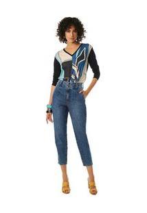 Calça Maria.Valentina Cenoura Cós Alto Bolso Embutido Jeans