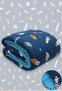 Edredom Solteiro Kacyumara Dupla-Face Sofee Foguetes Azul-Marinho