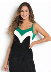 Blusa De Alças Tricô Verde Com Preto E Off White