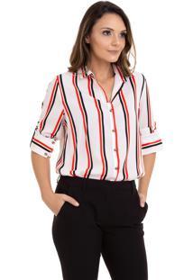 Camisa Kinara Crepe Manga Martingale Branco