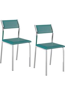 Kit Com 2 Cadeiras Sofia Cromada Napa Turquesa - Carraro
