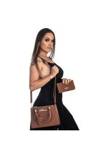 Kit Bolsa + Carteira Feminina Fashion Estilo Blogueira Marrom