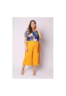 Calça Almaria Plus Size Munny Pantacourt Faixa Amarelo