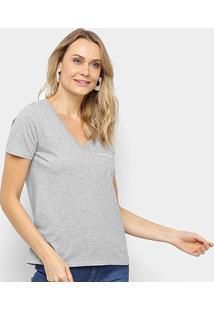 Blusa Calvin Klein Corte Em V Logo Feminina - Feminino-Mescla
