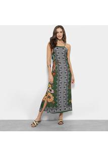 Vestido Midi Farm Estampado Floral Feminino - Feminino-Verde+Cinza