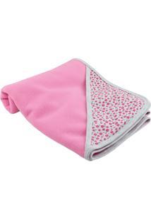 Cobertor Lovatinho Soft Florzinhas Rosa/Cinza