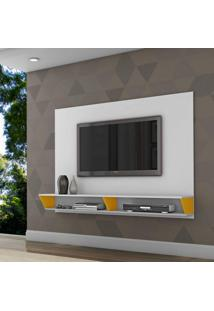 Painel Para Tv Até 47 Polegadas 2 Nichos Leblon Retrô Siena Móveis Branco/Amarelo