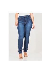 Calça Jeans Feminina Skinny Detalhes Bolsos Cós Alto
