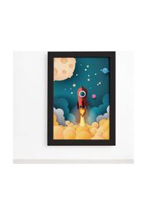 Quadro Astronauta Foguete Vermelho Moldura Preta 22X32Cm