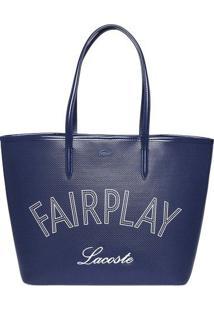 """Bolsa """"Fairplay"""" Texturizada Com Couro - Azul Marinho & Lacoste"""