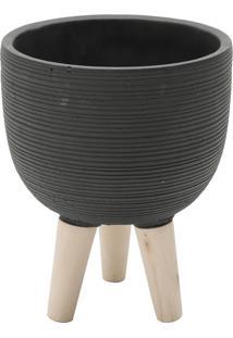 Vaso Concreto Com Pé Madeira Round Stripes Preto 17,5X17,5X21,5 Cm Urban