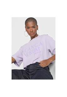Camiseta Cropped Lança Perfume Logo Lilás