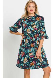 Vestido Gola Alta Floral Azul Marinho