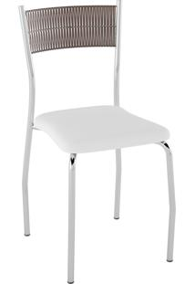 Kit C/ 2 Cadeiras Encosto Tabaco Assento Branco Pozza