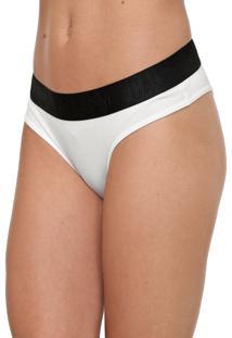 Calcinha Calvin Klein Underwear Tanga Lettering Branca/Preta