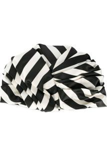 Maison Michel Striped Wrapped Hat - Preto