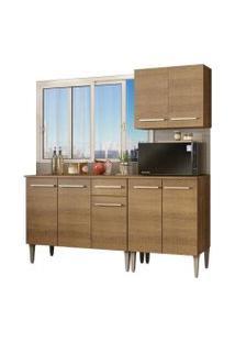 Cozinha Compacta Madesa Emilly Free Com Armário E Balcão Rustic