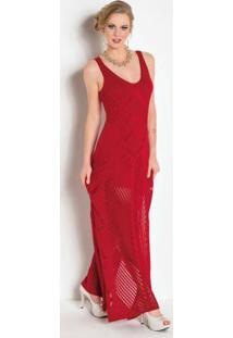 Vestido Longo Tricê Com Fenda Vermelha